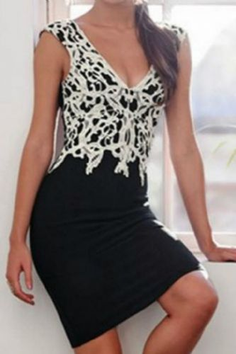 Women Sexy Splicing V-Neck Sleeveless Slim Lace Pencil Dress